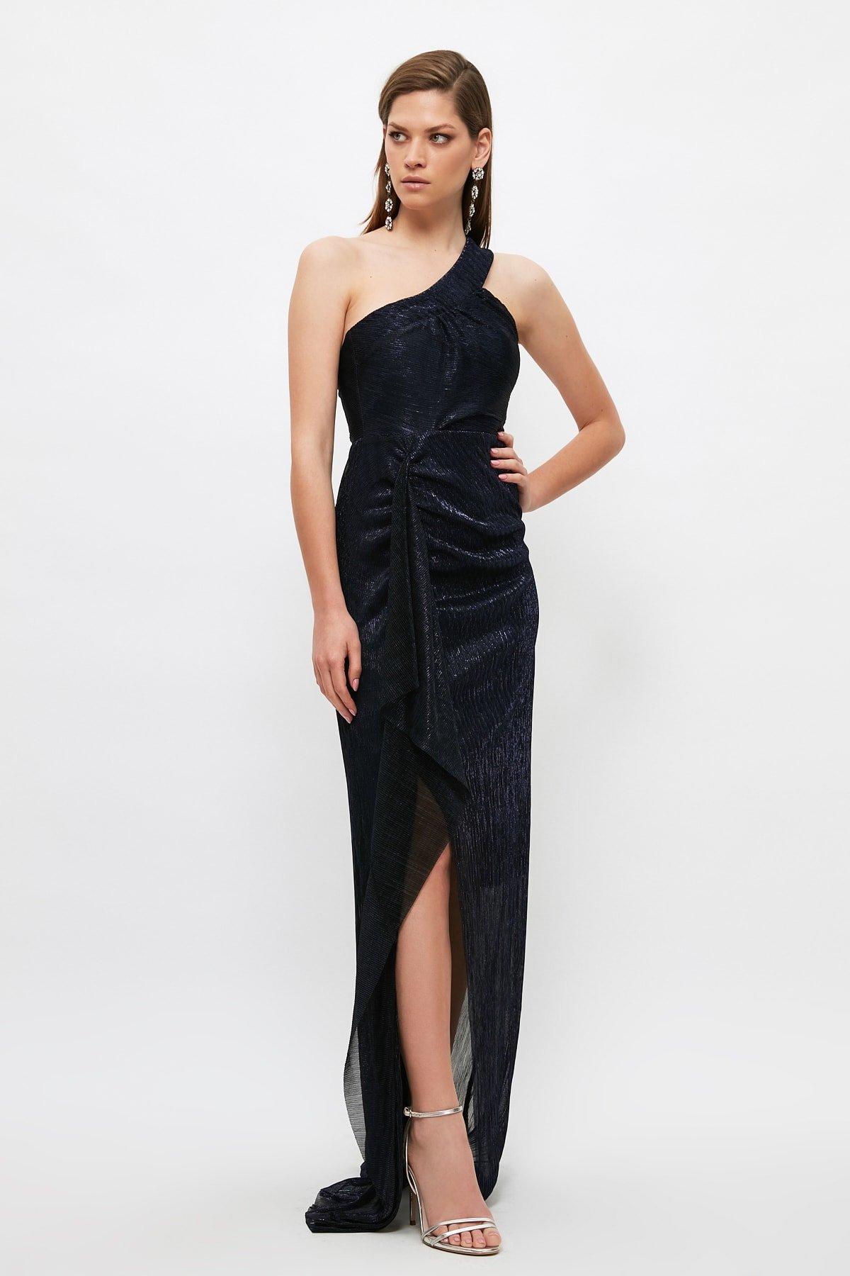 Trendyolmilla Tek Omuz Askılı Mor Yaka Detaylı Uzun Abiye Elbise