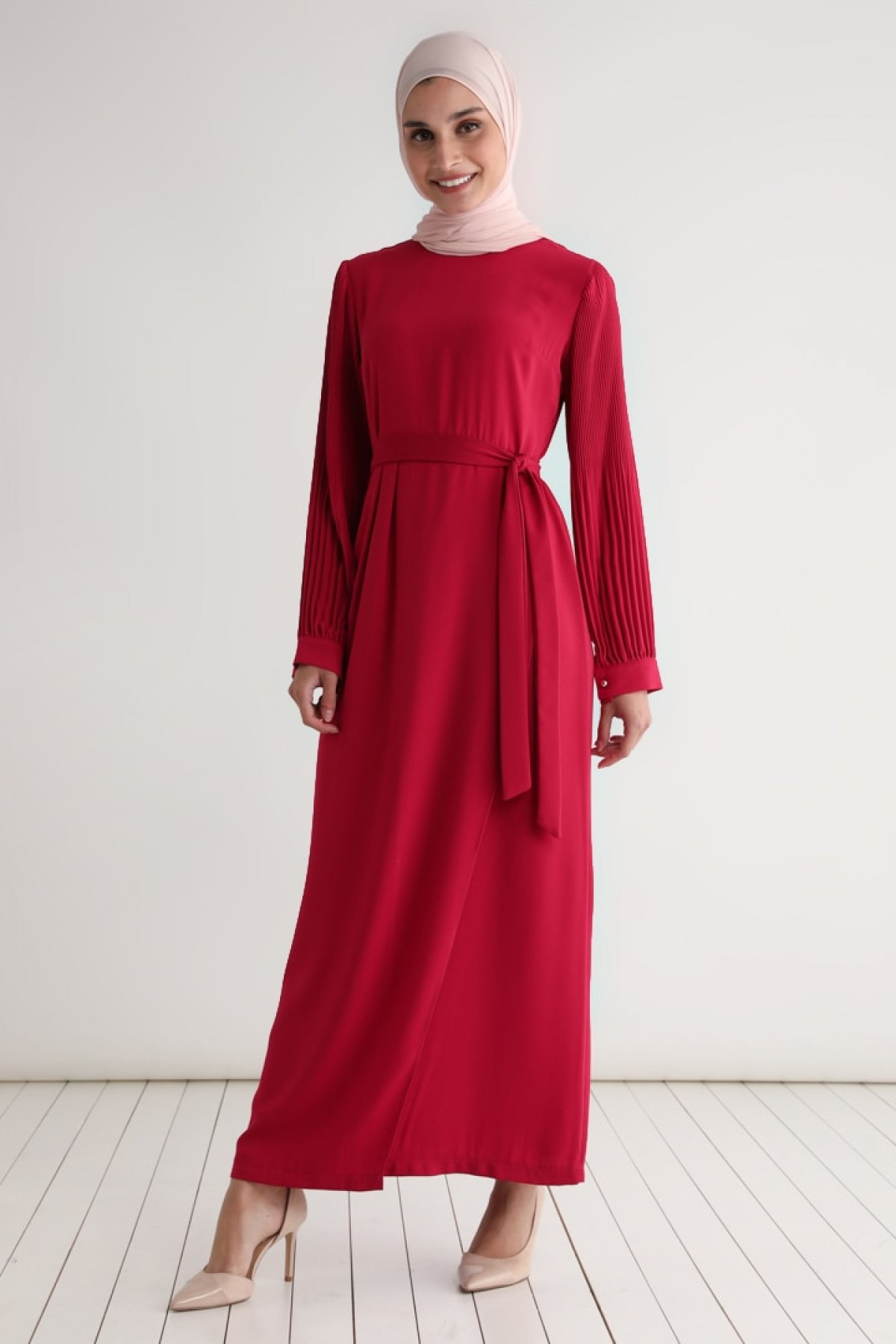 Tavin Fuşya Kuşaklı Kolları Piliseli Elbise
