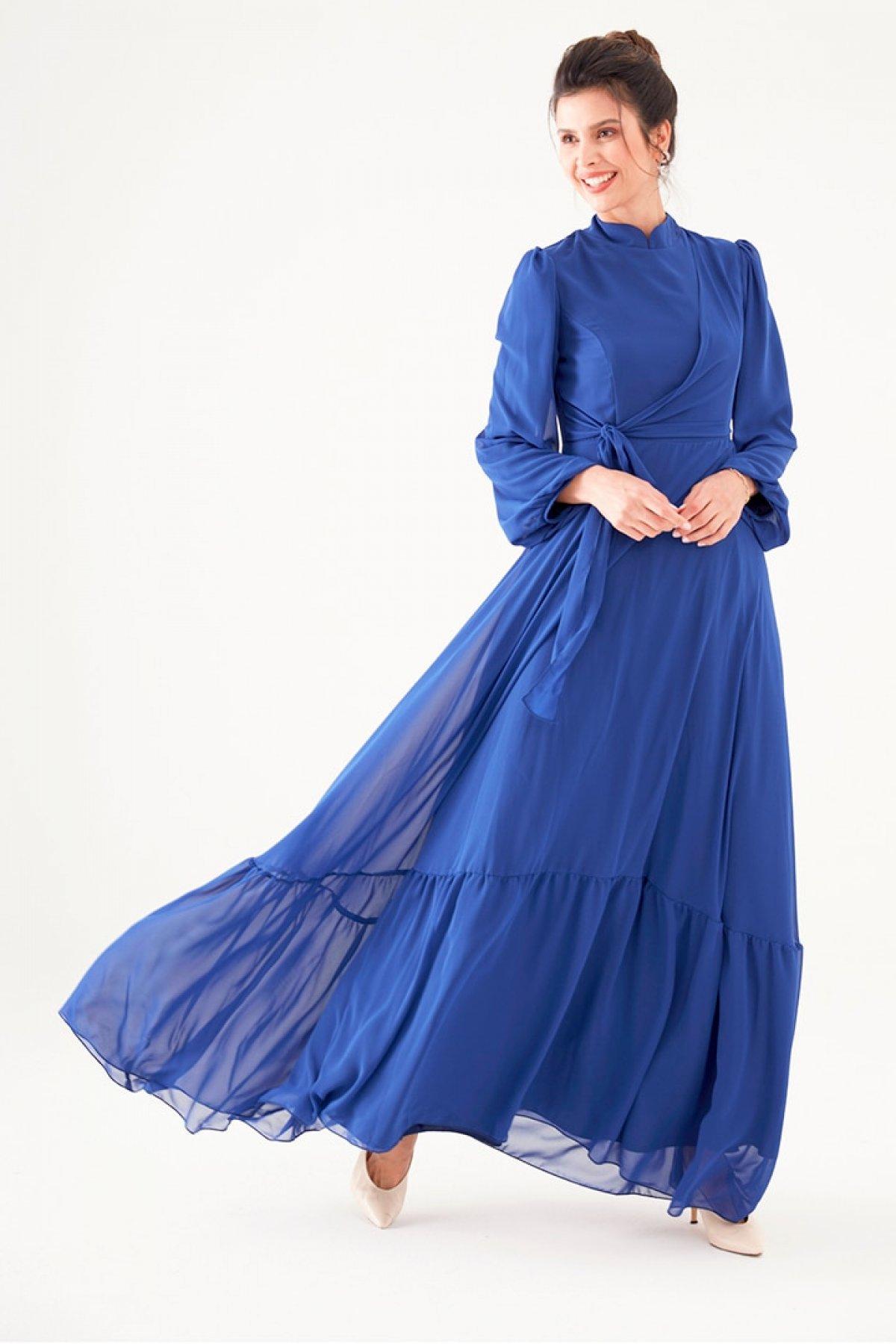 Nurgül Çakır Saks Mavisi Eslem Abiye Elbise