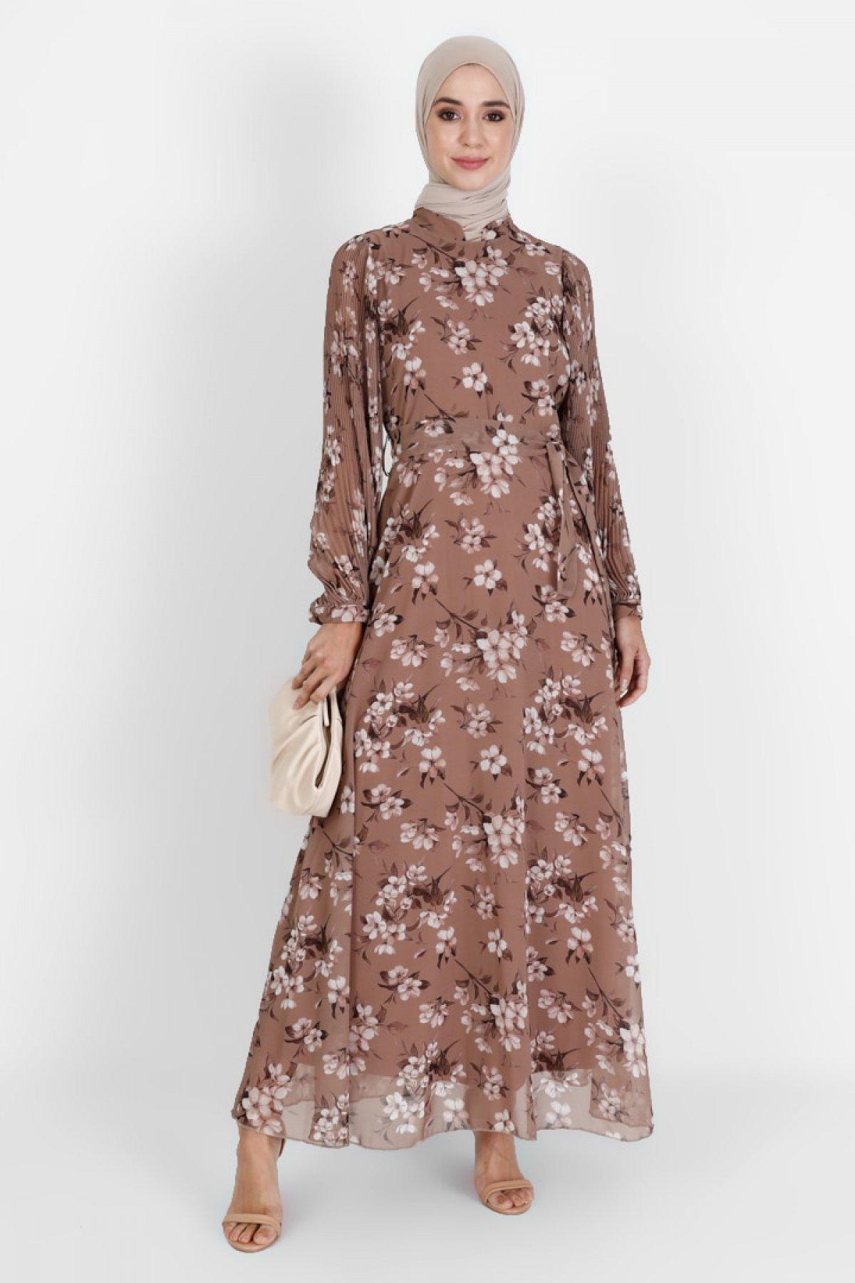 BÜRÜN Vizon Çiçek Desenli Elbise