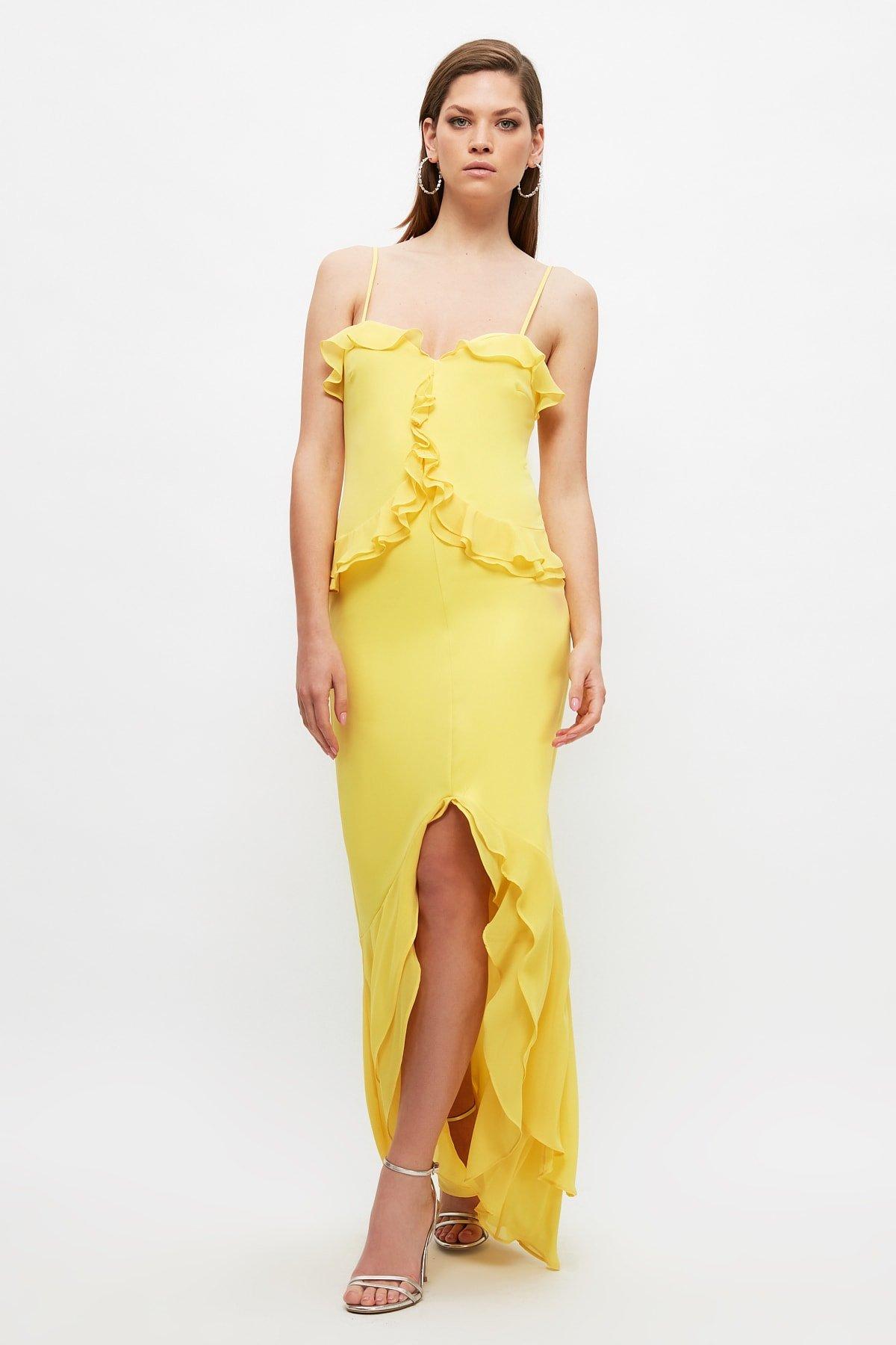 Trendyolmilla Askılı Sarı Yaka Detaylı Uzun Abiye Elbise