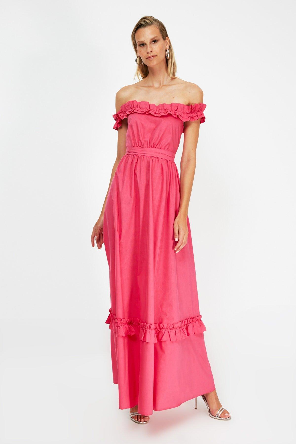 Trendyolmilla Fuşya Fırfırlı Uzun Abiye Elbise