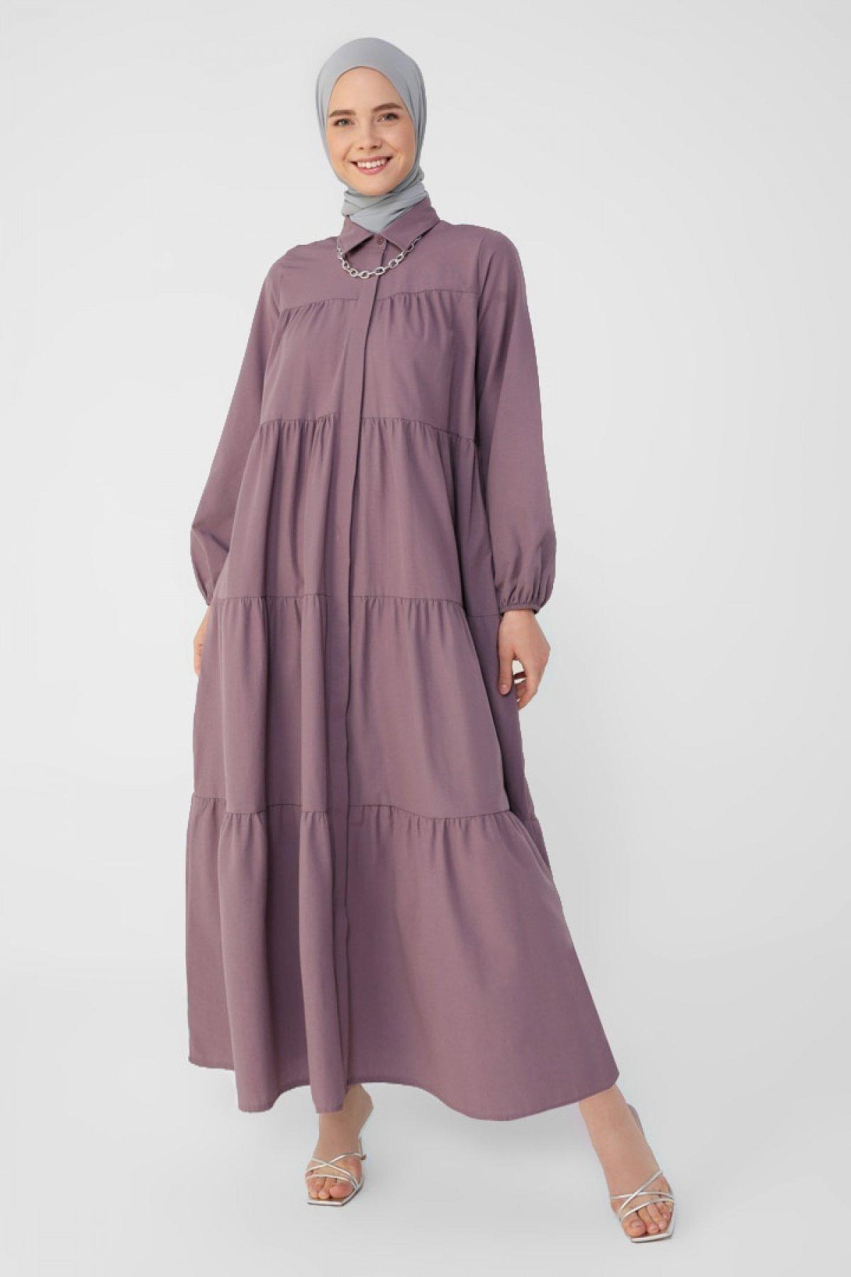 Refka Vintage Mor Gizli Pat Detaylı Kat Salaş Poplin Elbise