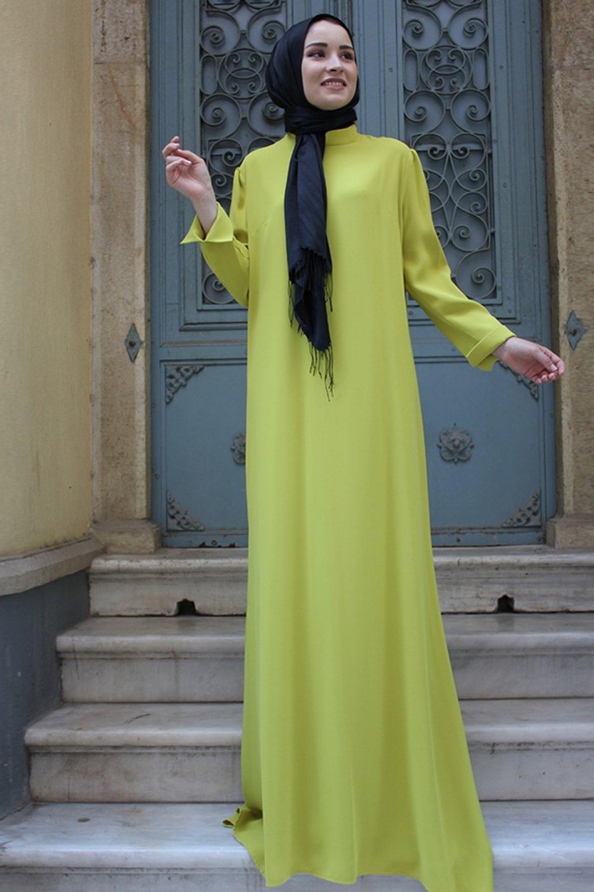 Zehrace Sarı Kalem Abiye Elbise