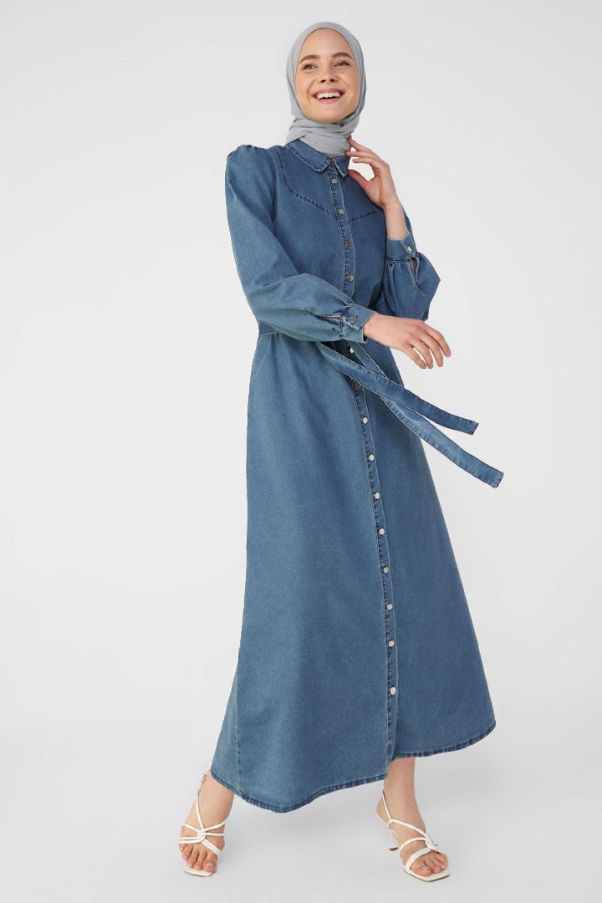 Refka İndigo Boydan Düğmeli Kuşak Detaylı Kot Spor Elbise