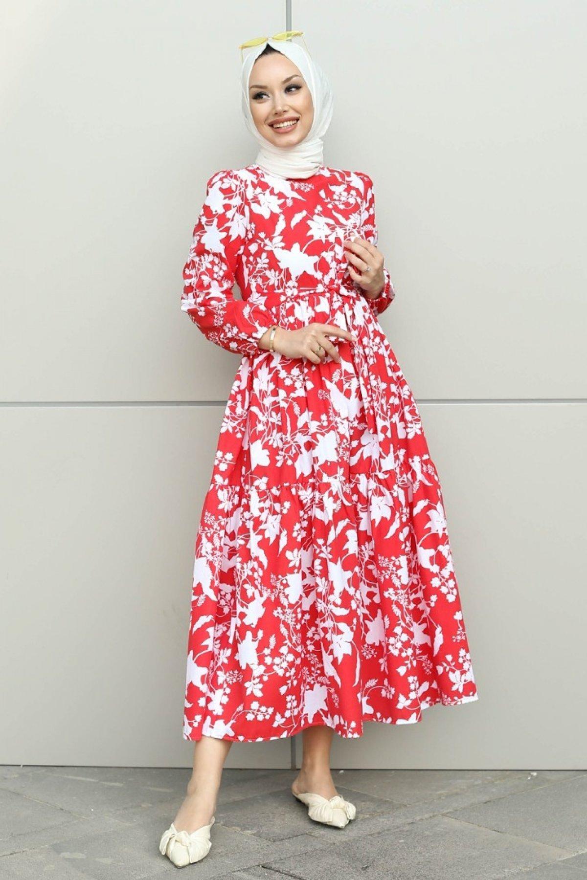 GİZCE Leona Kırmızı Desenli Elbise