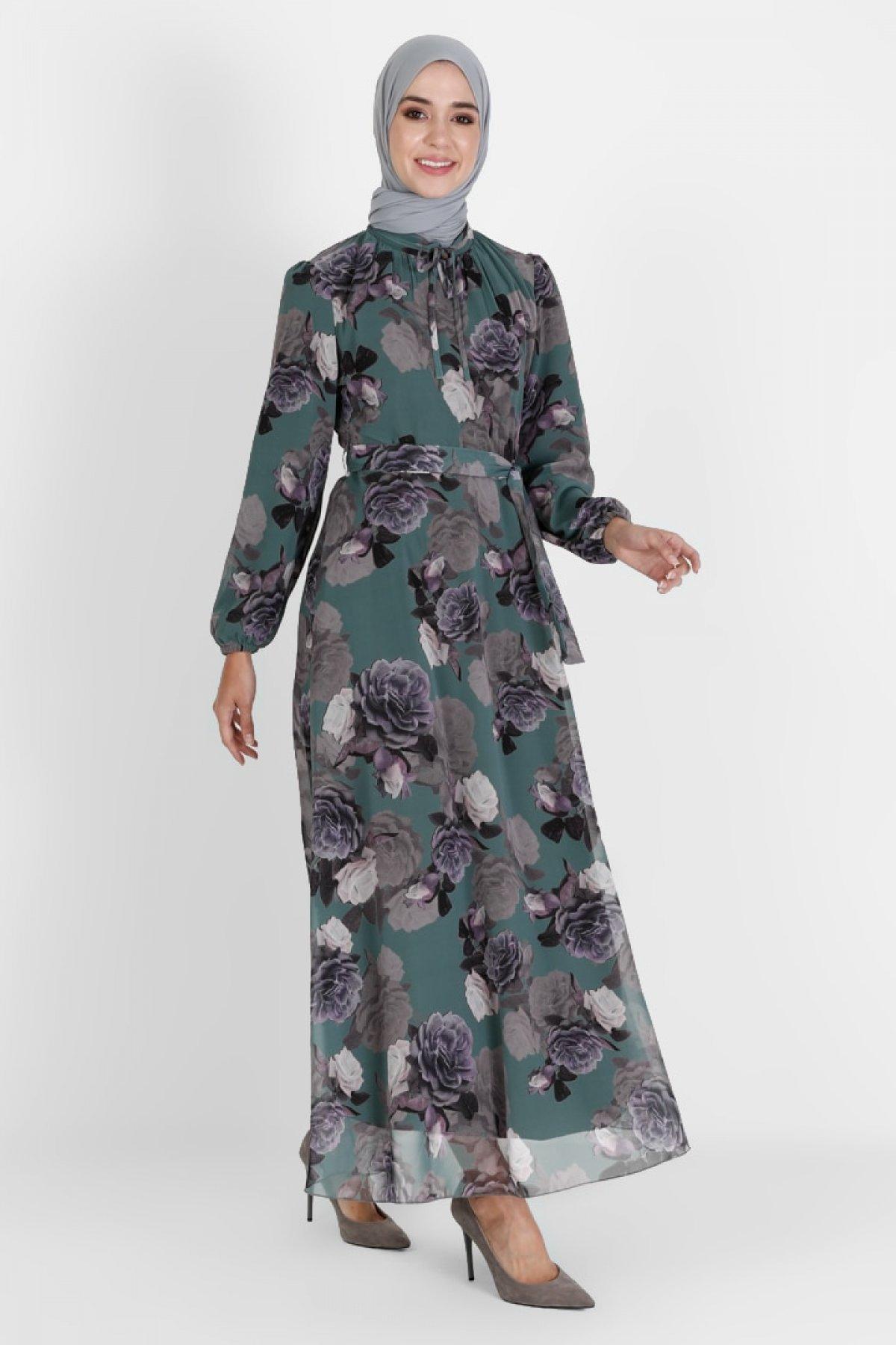 BÜRÜN Mint Yeşili Çiçek Desenli Elbise