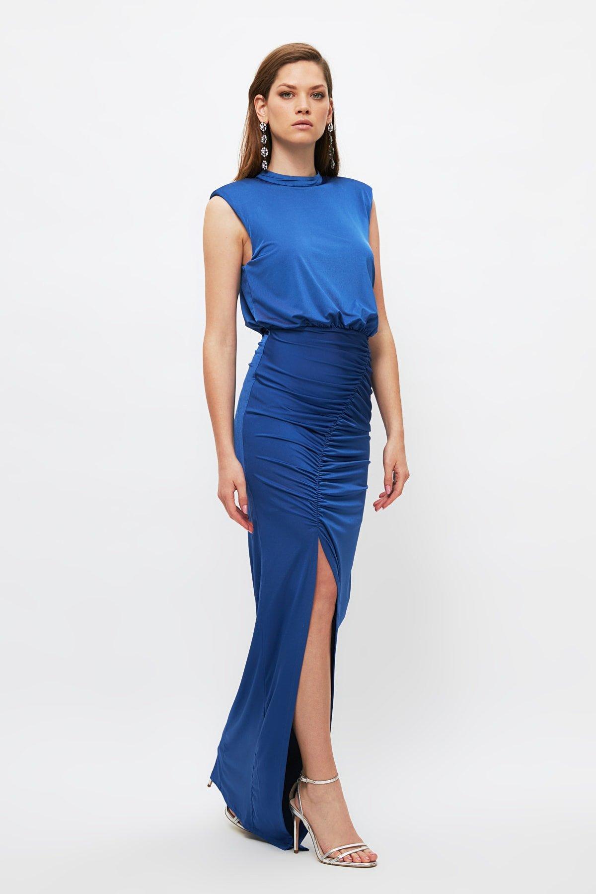 Trendyolmilla İndigo Drape Detaylı Uzun Abiye Elbise