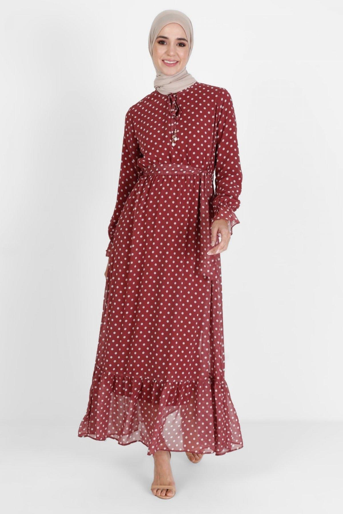 BÜRÜN Kiremit Puantiye Desenli Elbise