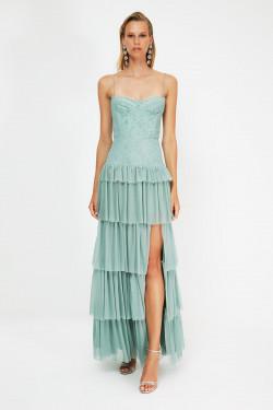 Trendyolmilla Askılı Mint Dantel Detaylı Uzun Abiye Elbise