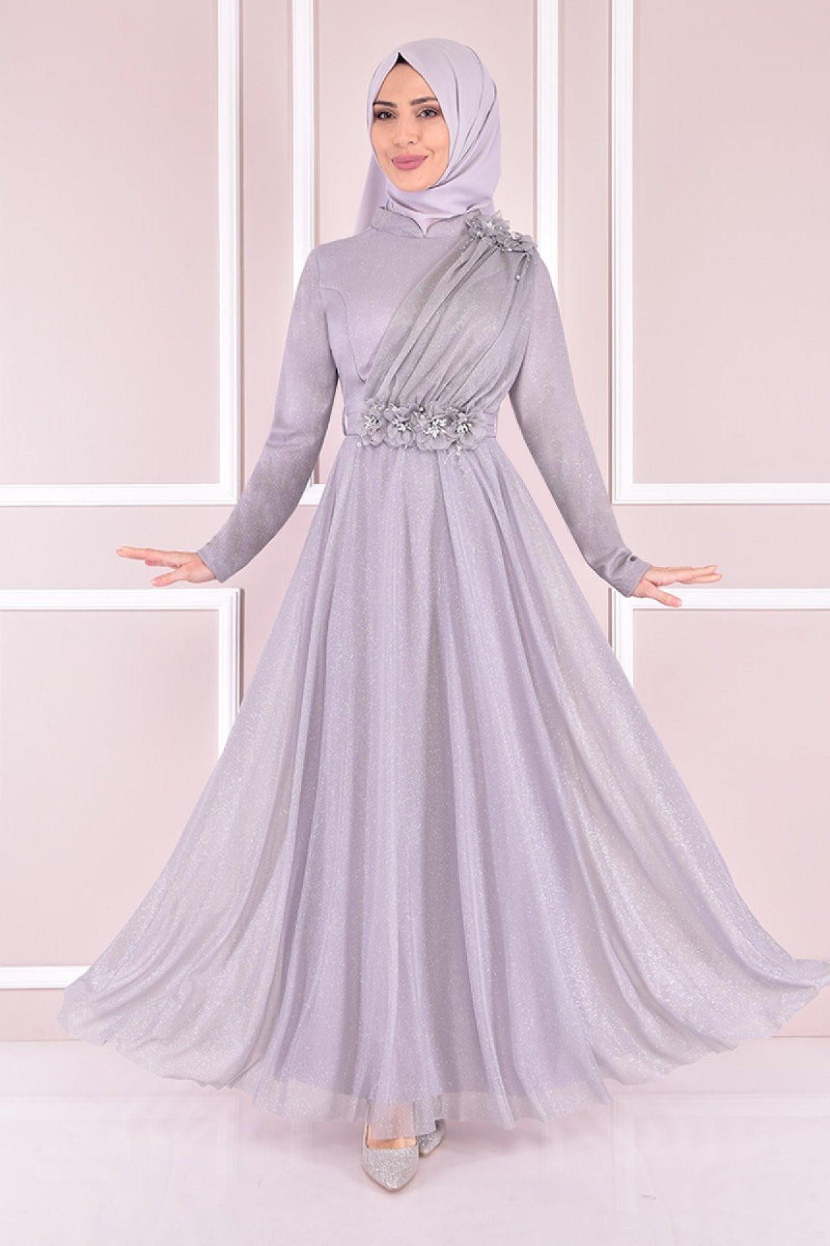 Moda Merve Gri Simli Abiye Elbise