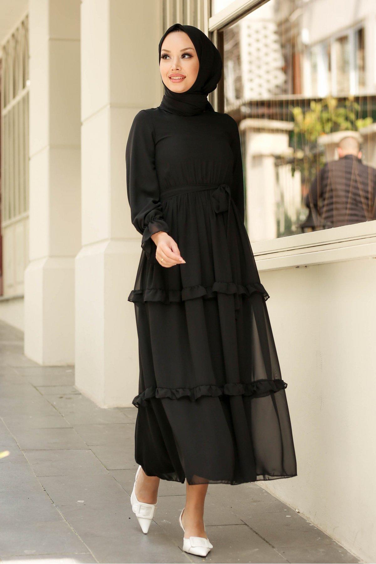 GİZCE Siyah Monica Şifon Elbise
