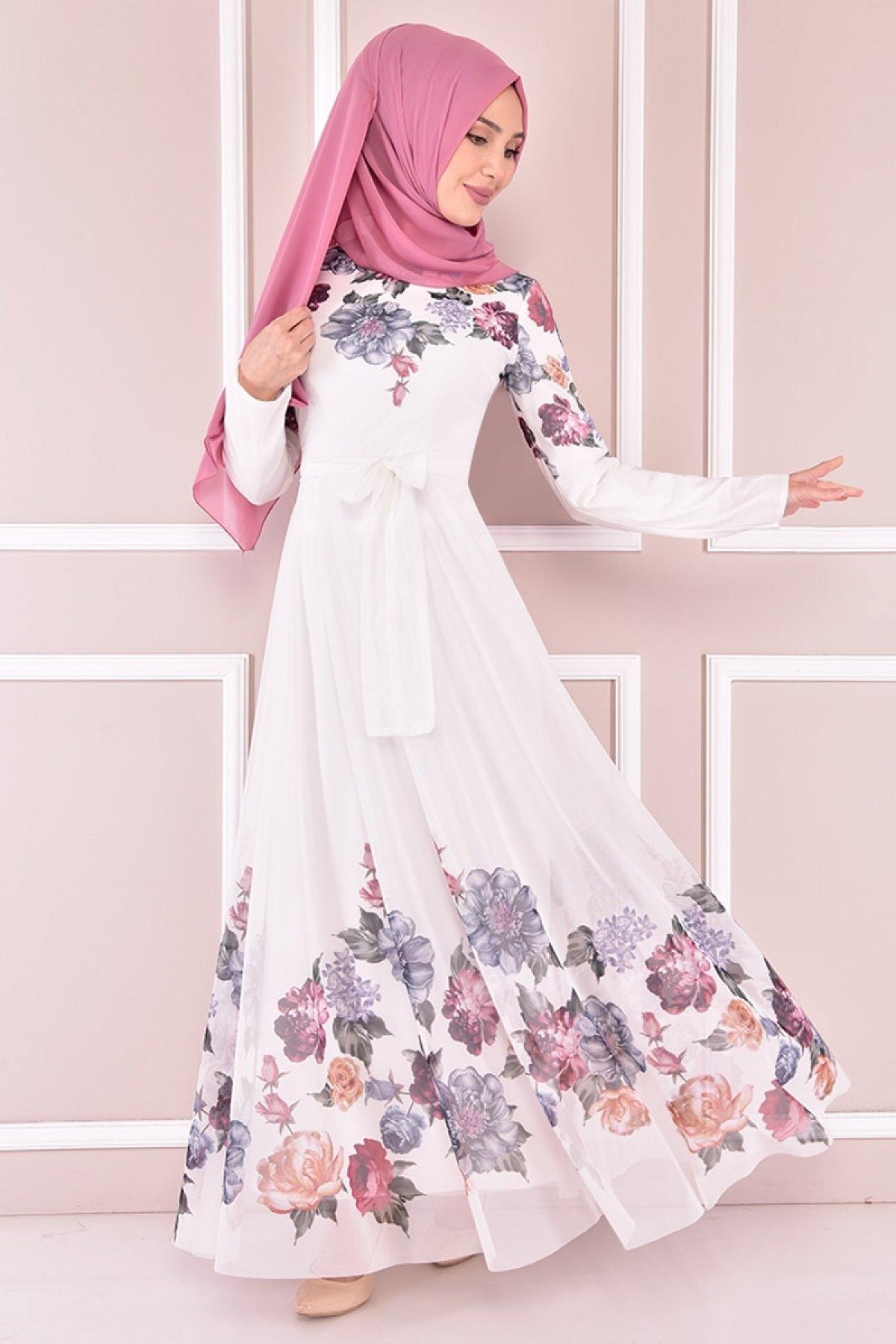 Moda Merve Beyaz Tül Abiye Elbise