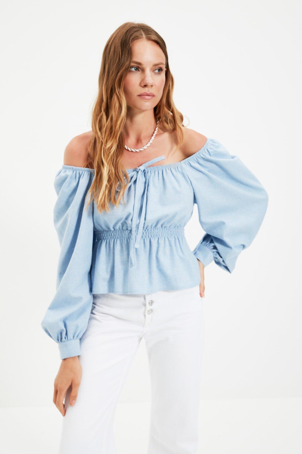 Trendyolmilla Mavi Büzgülü Bluz