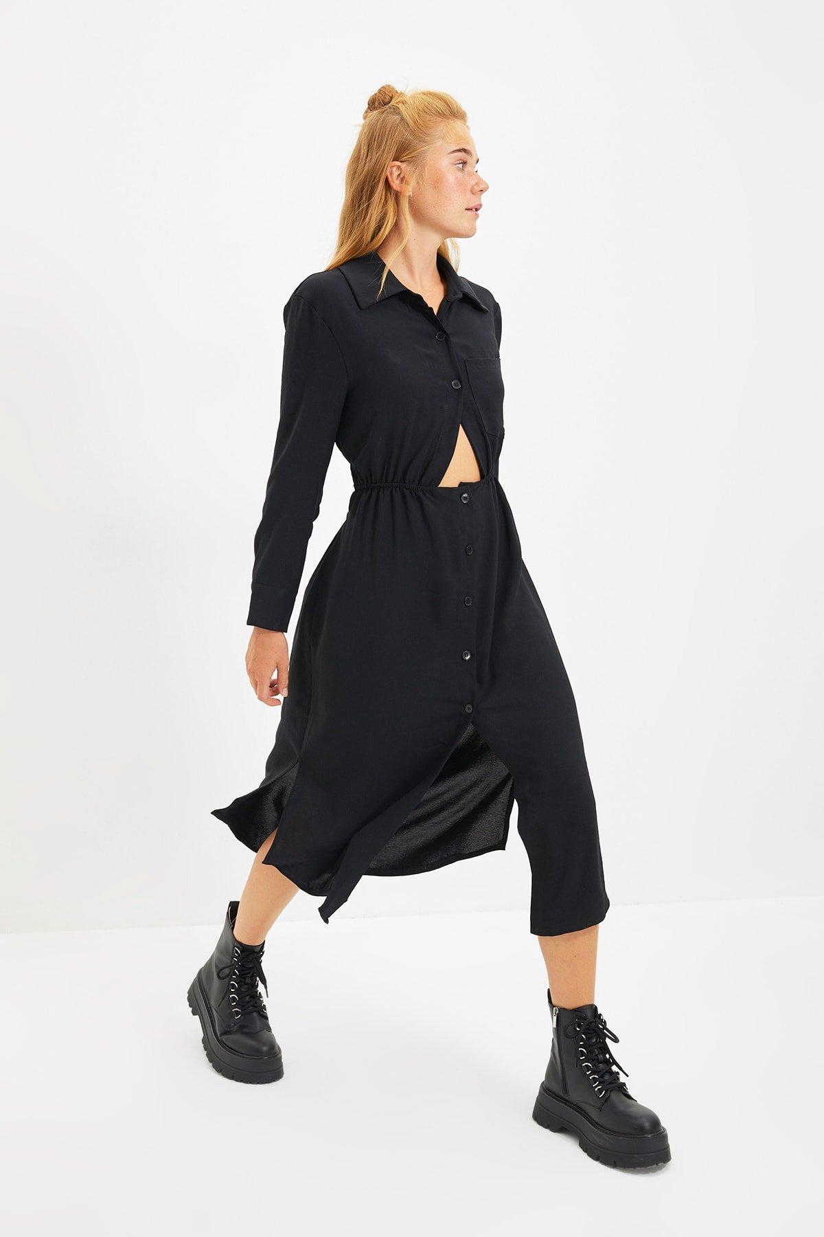 Trendyolmilla Siyah Midi Gömlek Elbise