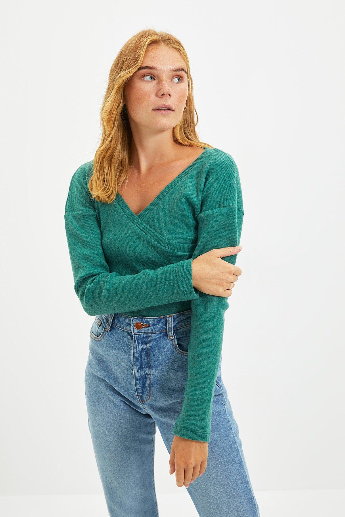 Trendyolmilla Zümrüt Yeşili Fake Örme Triko Bluz