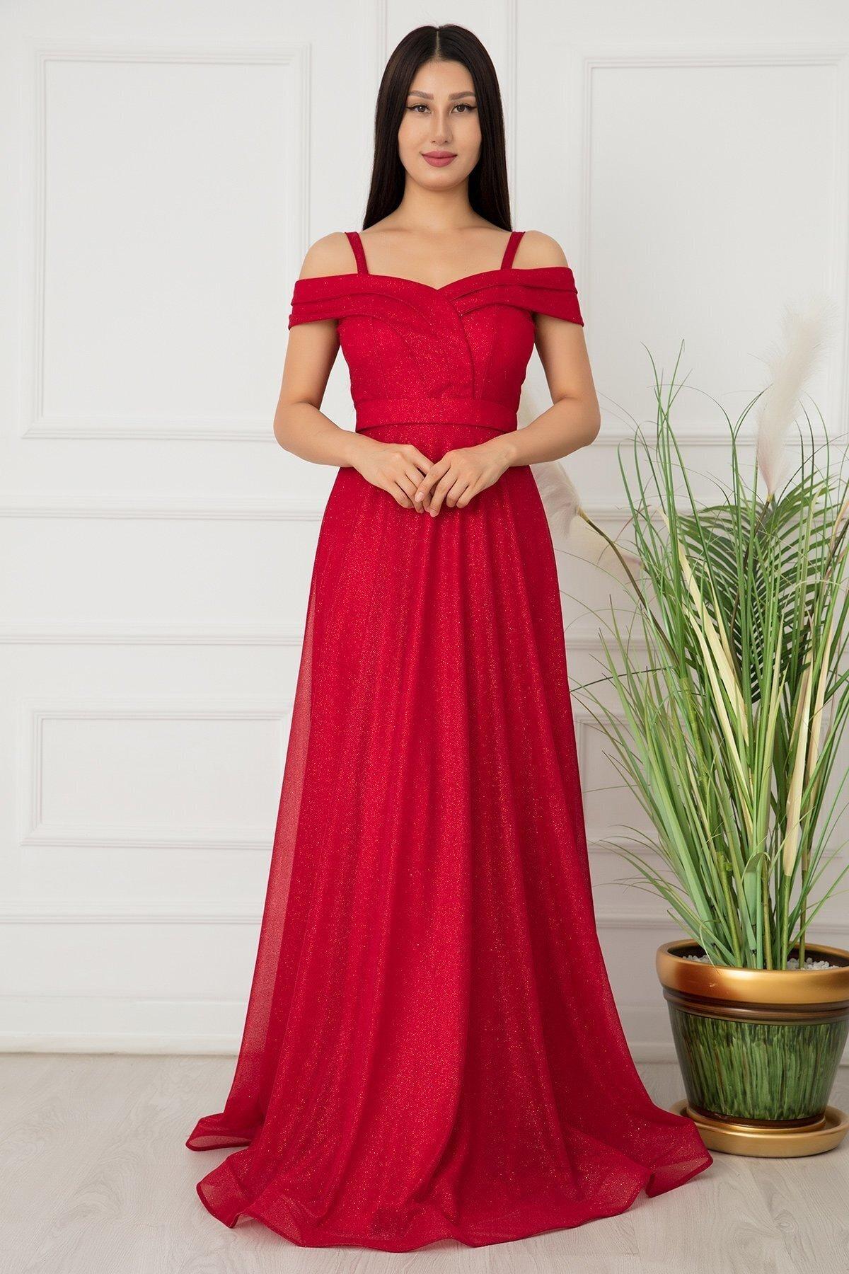 Pullimm Kırmızı Jessia Askılı Simli Tül Uzun Abiye Elbise