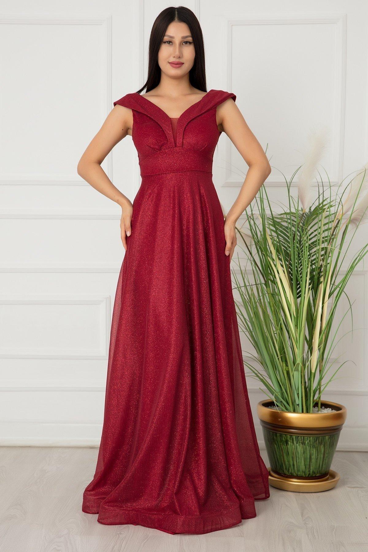 Pullimm Bordo Ruby Simli Tül Uzun Abiye Elbise