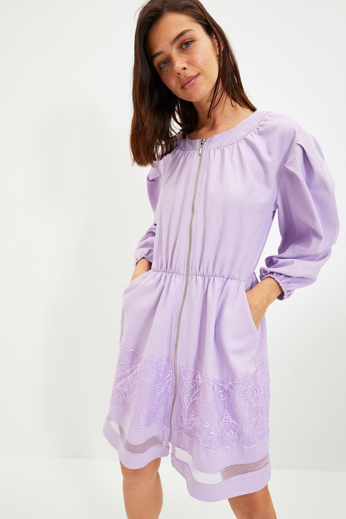 Trendyolmilla Lila Fermuarlı Şerit Detaylı Mini Elbise