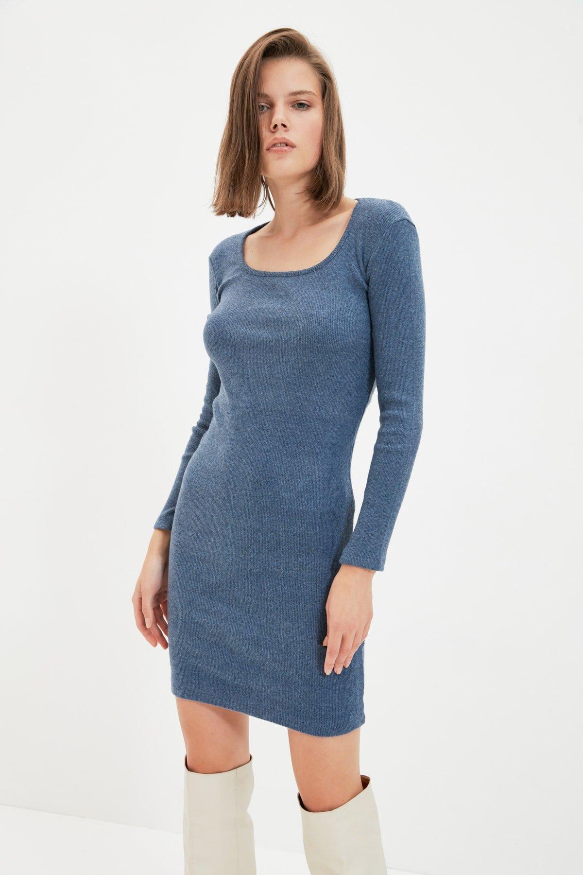 Trendyolmilla İndigo Kare Yaka Bodycon Örme Mini Elbise