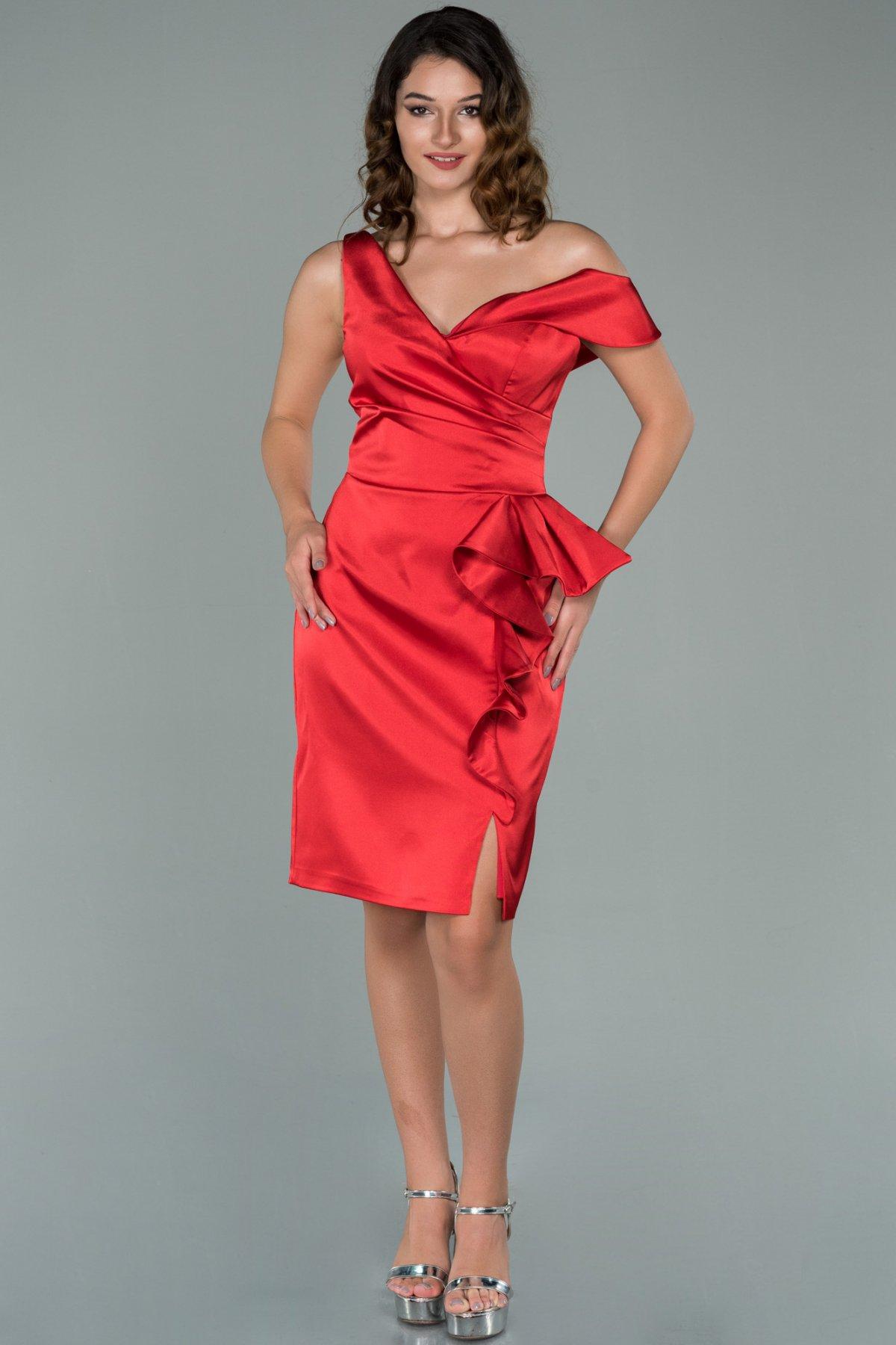 Abiyefon Kırmızı Eteği Volanlı Saten Midi Abiye Elbise