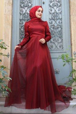 Zehrace Bordo Hayal Abiye Elbise