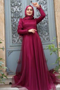 Zehrace Fuşya Hayal Abiye Elbise