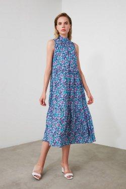 Trendyolmilla Mor Desenli Midi Elbise