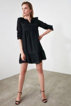 Trendyolmilla Siyah Yaka Detaylı Mini Elbise