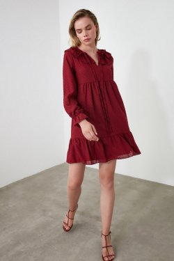 Trendyolmilla Bordo Yaka Detaylı Mini Elbise