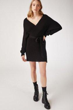 Happiness İst. Siyah Kruvaze Mini Triko Elbise