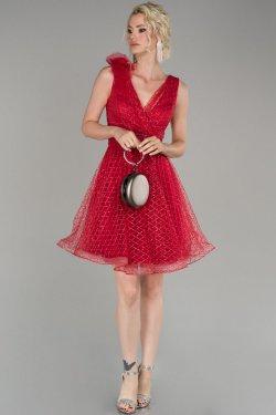 Abiyefon Kırmızı Simli Mini Abiye Elbise
