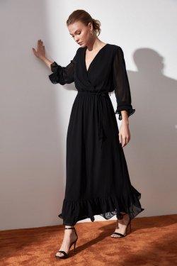 Trendyolmilla Siyah Kuşaklı Kruvaze Yaka Uzun Elbise