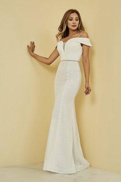 Sateen Askılı Beyaz Uzun Balık Abiye Elbise
