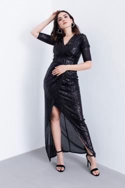 Lafaba Siyah Payetli Uzun Abiye Elbise