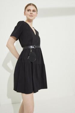 Adl Siyah V Yaka Poplin Mini Elbise