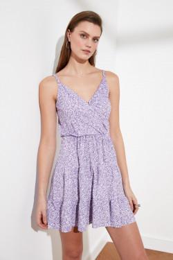 Trendyolmilla Askılı Lila Desenli Kruvaze Örme Mini Elbise