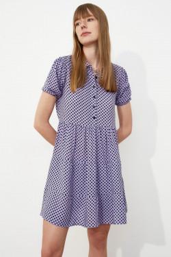 Trendyolmilla Lila Puantiyeli Mini Elbise