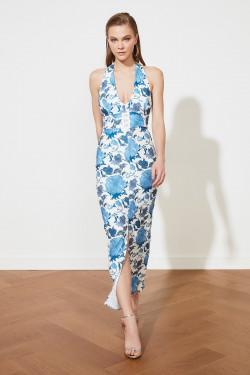 Trendyolmilla Mavi Yaka Detaylı Uzun Abiye Elbise